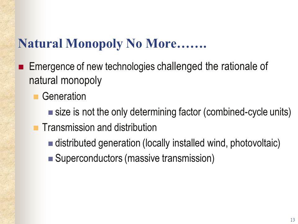 13 Natural Monopoly No More…….