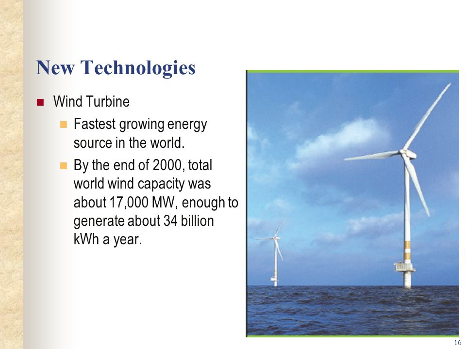 16 New Technologies Wind Turbine Fastest growing energy source in the world.