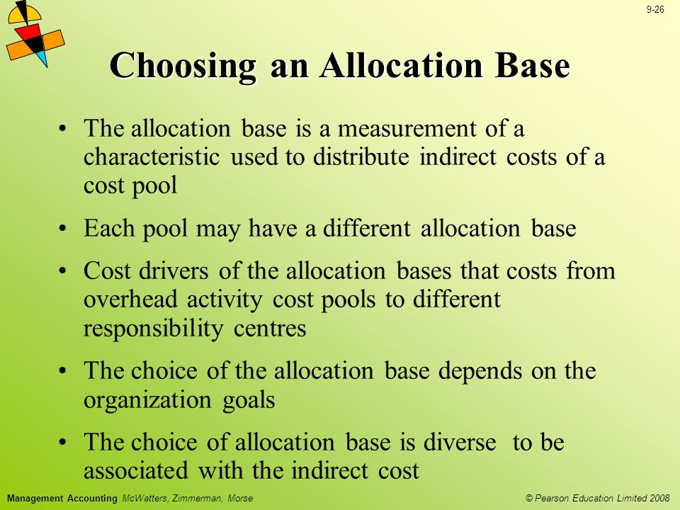 © Pearson Education Limited 2008 9-27 Management Accounting McWatters, Zimmerman, Morse Fairness Consistency Simplicity Choosing an Allocation Base Key Objectives Of Allocation System