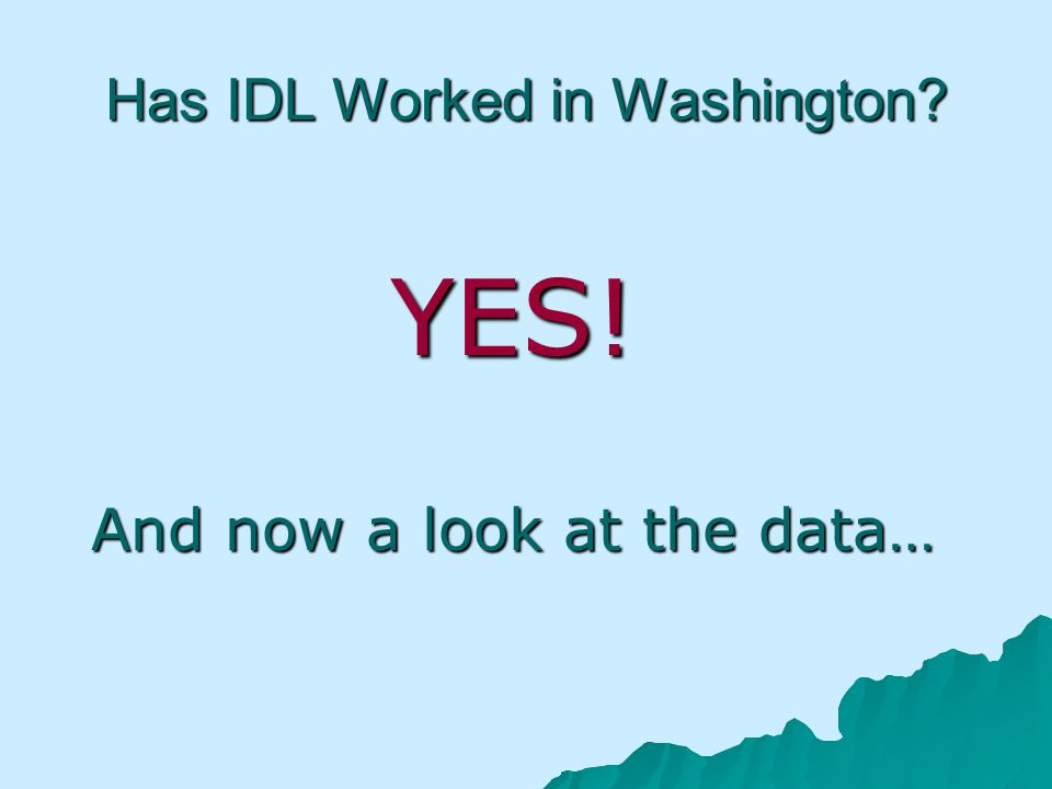 Has IDL Worked in Washington? YES! And now a look at the data…