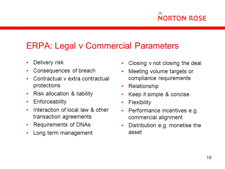 10 ERPA: Legal v Commercial Parameters Delivery risk Consequences of breach Contractual v extra contractual protections Risk allocation & liability Enforceability Interaction of local law & other transaction agreements Requirements of DNAs Long term management Closing v not closing the deal Meeting volume targets or compliance requirements Relationship Keep it simple & concise Flexibility Performance incentives e.g.