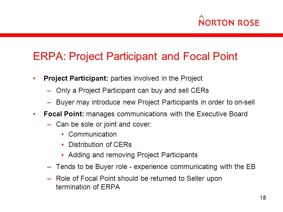 18 ERPA: Project Participant and Focal Point Project Participant: parties involved in the Project –Only a Project Participant can buy and sell CERs –Buyer may introduce new Project Participants in order to on-sell Focal Point: manages communications with the Executive Board –Can be sole or joint and cover: Communication Distribution of CERs Adding and removing Project Participants –Tends to be Buyer role - experience communicating with the EB –Role of Focal Point should be returned to Seller upon termination of ERPA