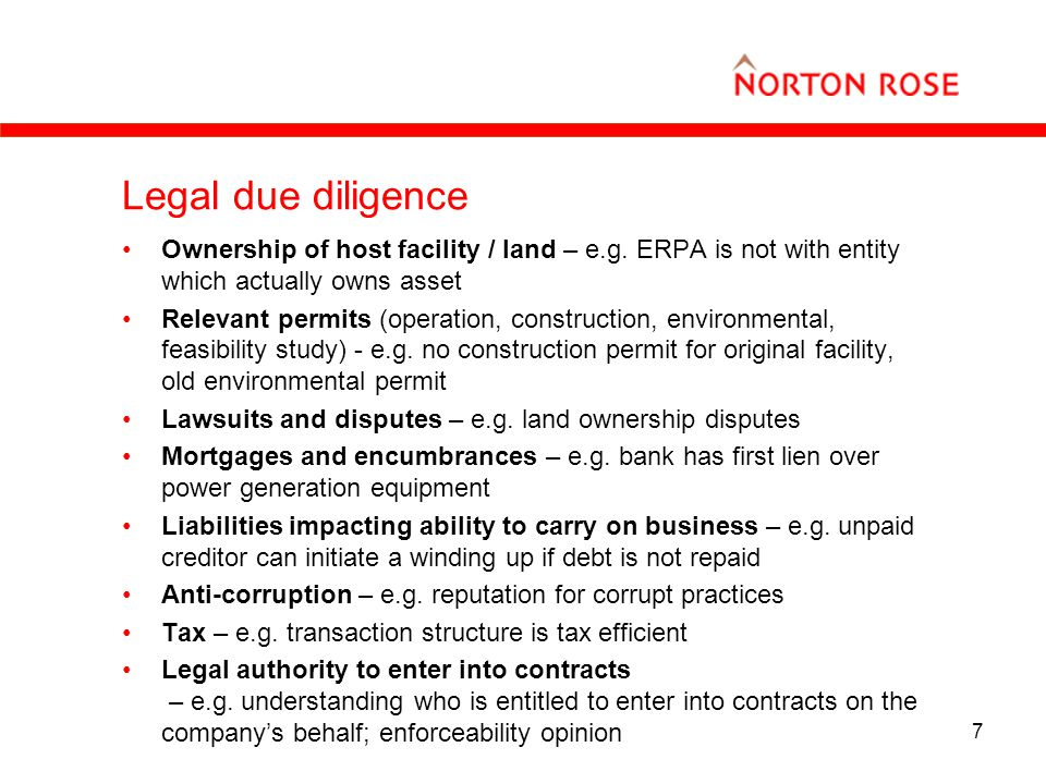 7 Legal due diligence Ownership of host facility / land – e.g.