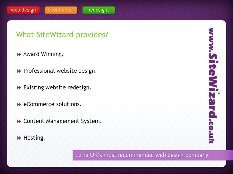 What SiteWizard provides. Award Winning. Professional website design.