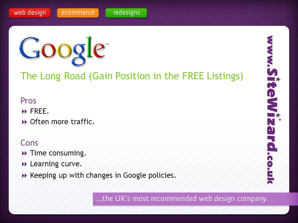 The Long Road (Gain Position in the FREE Listings) Pros FREE.