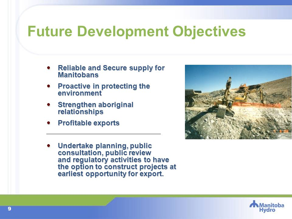 8 Hydros Future Development Objectives