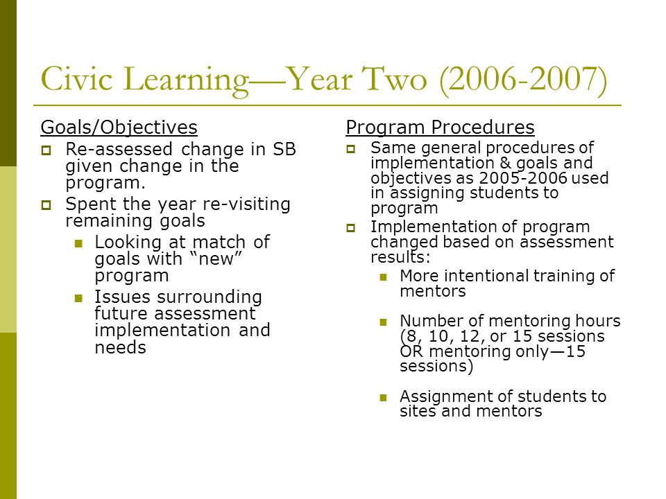 Civic LearningYear Two (2006-2007) Goals/Objectives Re-assessed change in SB given change in the program. Spent the year re-visiting remaining goals L
