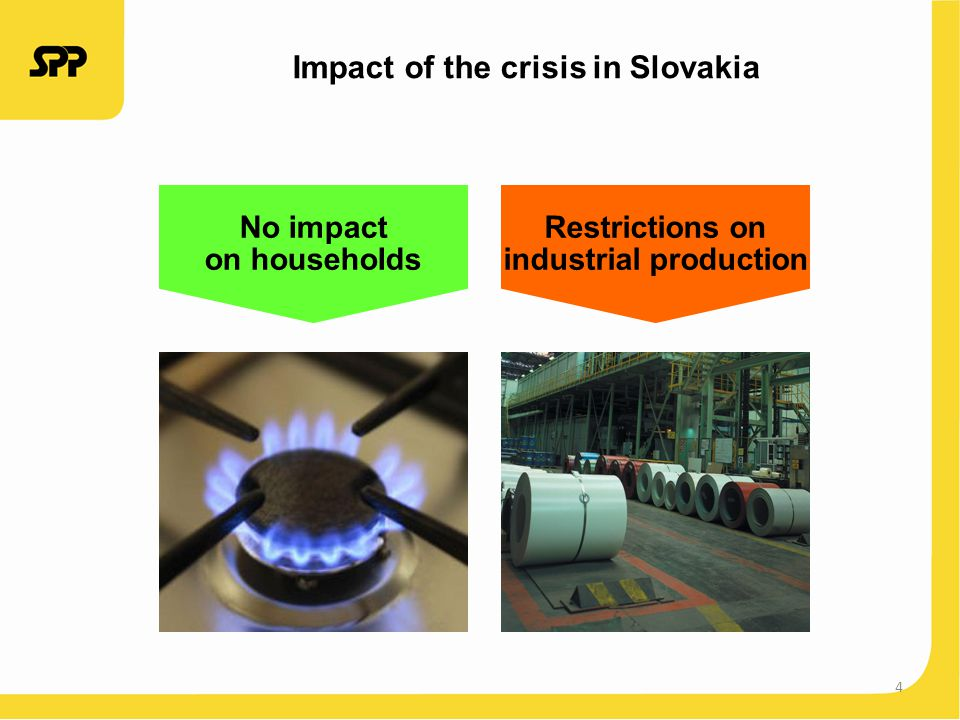 4 Impact of the crisis in Slovakia No impact on households Restrictions on industrial production