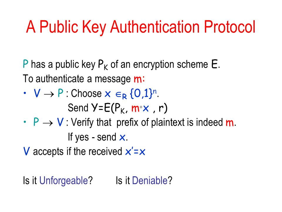 A Public Key Authentication Protocol P has a public key P K of an encryption scheme E.