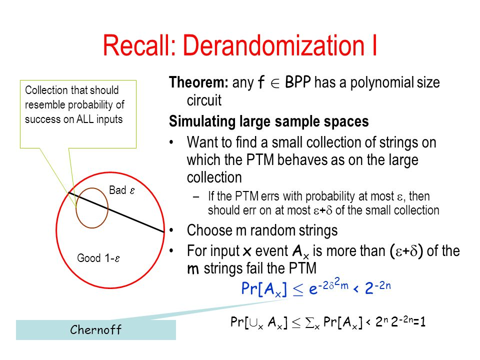 Recall: Derandomization I Theorem: any f 2 BPP has a polynomial size circuit Simulating large sample spaces Want to find a small collection of strings on which the PTM behaves as on the large collection –If the PTM errs with probability at most, then should err on at most + of the small collection Choose m random strings For input x event A x is more than ( + ) of the m strings fail the PTM Pr[A x ] · e -2 2 m < 2 -2n Pr[ [ x A x ] · x Pr[A x ] < 2 n 2 -2n =1 Good 1- Bad Collection that should resemble probability of success on ALL inputs Chernoff