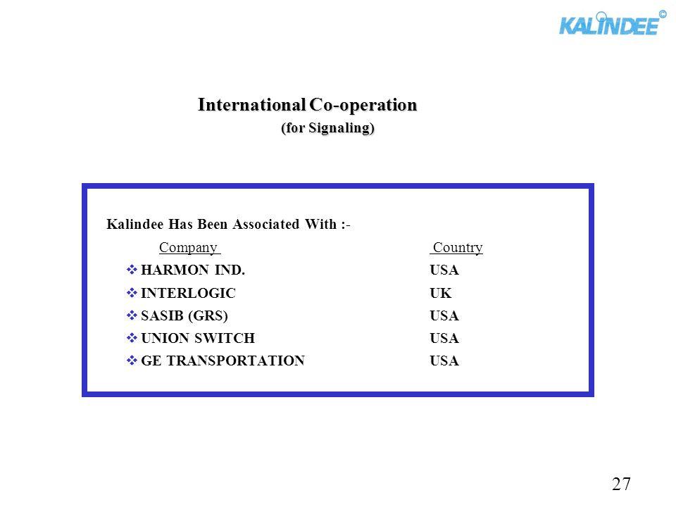 International Co-operation (for Signaling) Kalindee Has Been Associated With :- Company Country HARMON IND.USA INTERLOGICUK SASIB (GRS)USA UNION SWITC