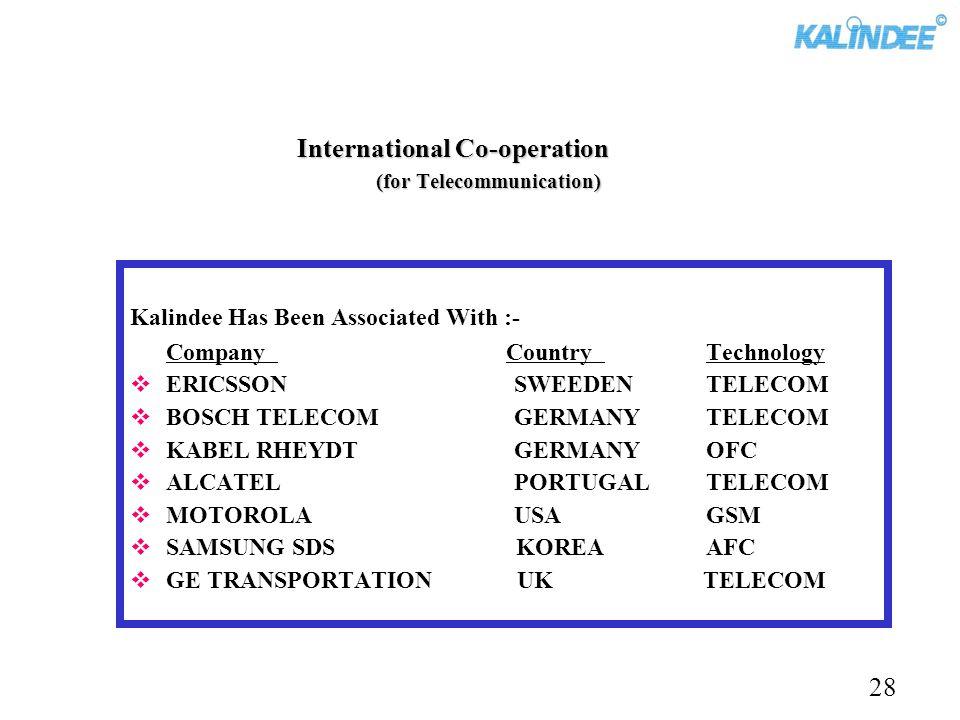 Kalindee Has Been Associated With :- Company Country Technology ERICSSONSWEEDENTELECOM BOSCH TELECOMGERMANYTELECOM KABEL RHEYDTGERMANYOFC ALCATELPORTU