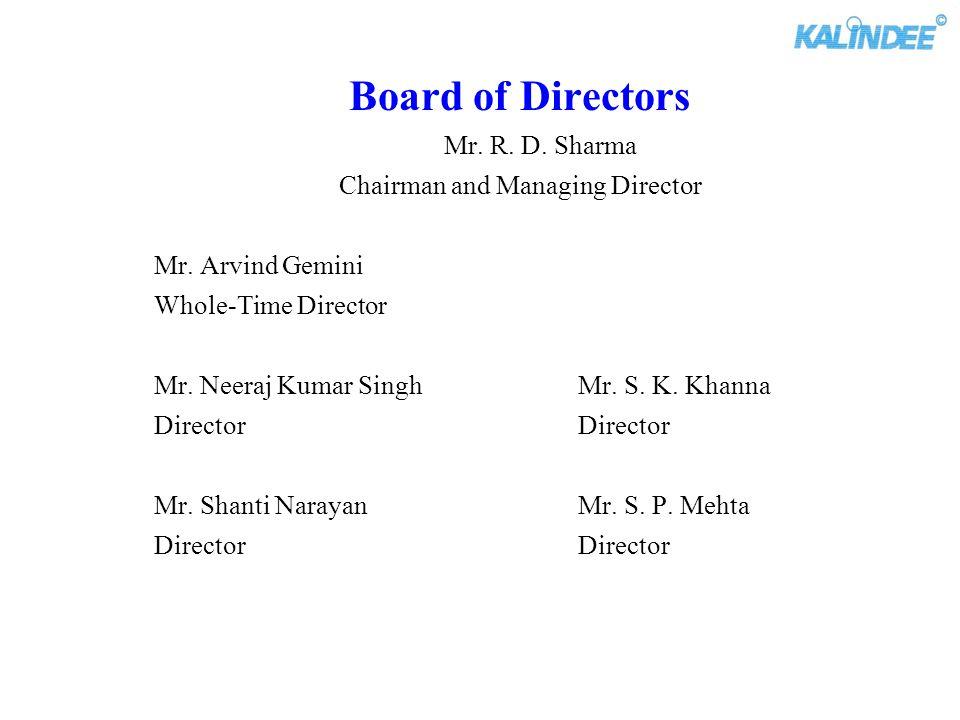 Board of Directors Mr. R. D. Sharma Chairman and Managing Director Mr. Arvind Gemini Whole-Time Director Mr. Neeraj Kumar Singh Mr. S. K. Khanna Direc
