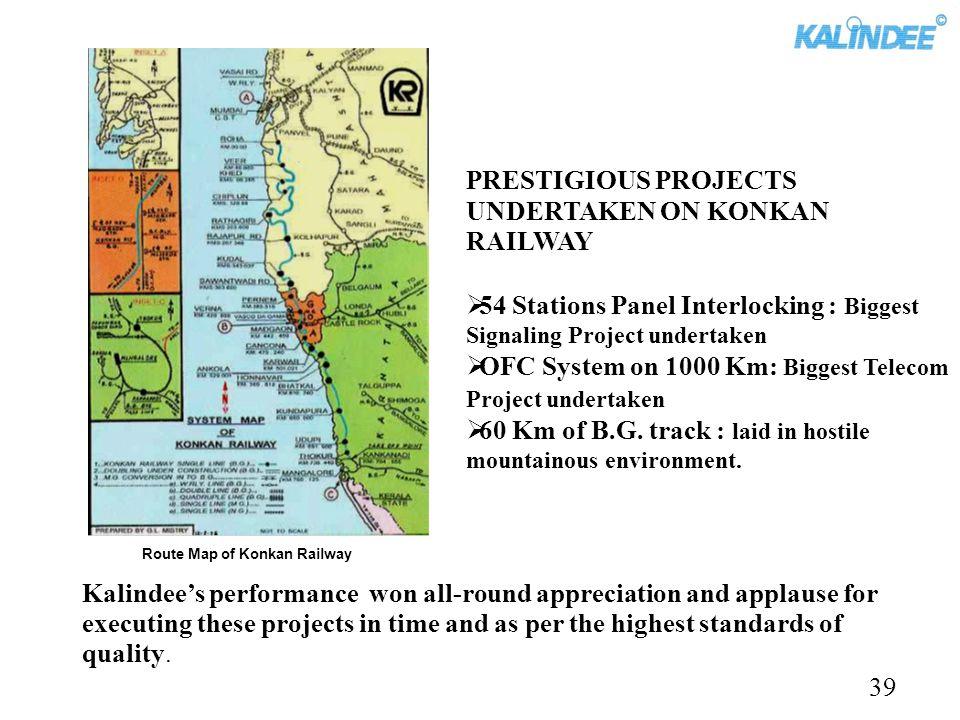 PRESTIGIOUS PROJECTS UNDERTAKEN ON KONKAN RAILWAY 54 Stations Panel Interlocking : Biggest Signaling Project undertaken OFC System on 1000 Km: Biggest