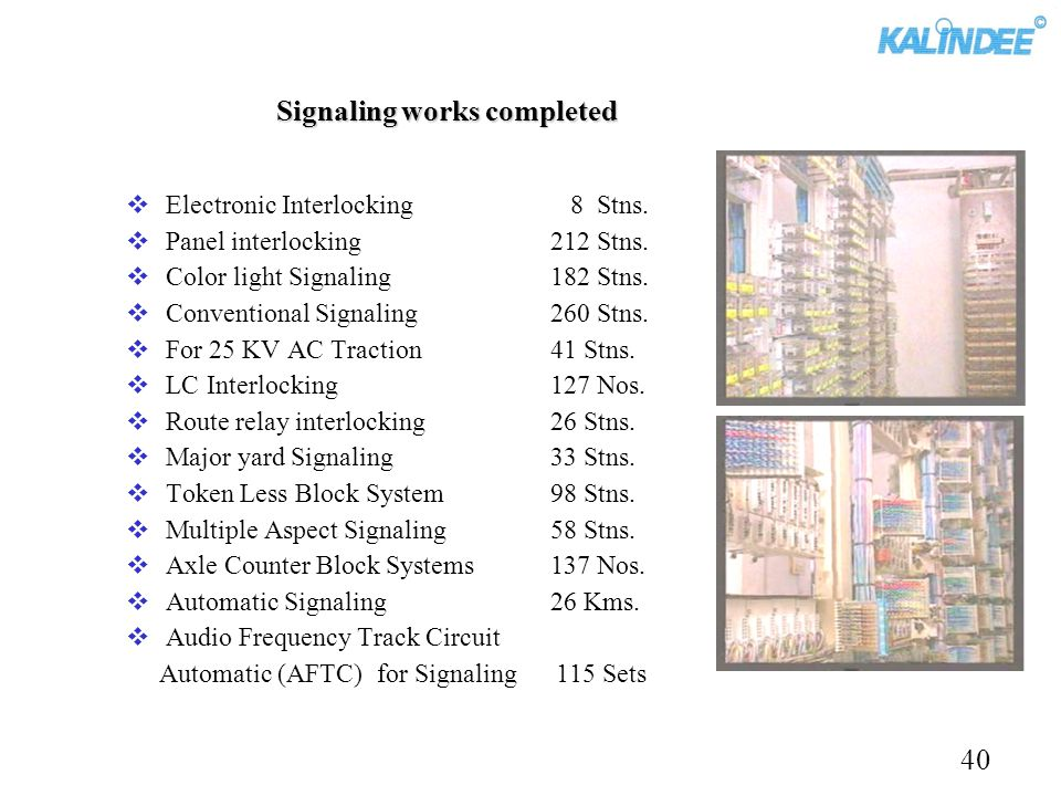 Signaling works completed Electronic Interlocking 8 Stns. Panel interlocking212 Stns. Color light Signaling182 Stns. Conventional Signaling260 Stns. F