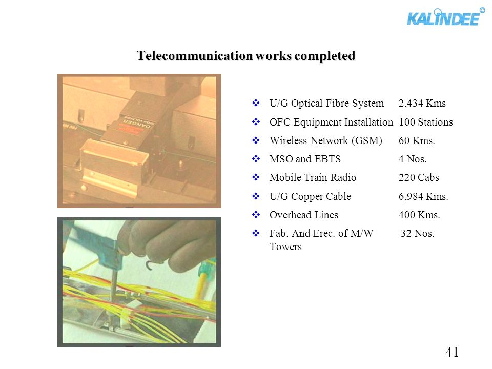 Telecommunication works completed U/G Optical Fibre System 2,434 Kms OFC Equipment Installation100 Stations Wireless Network (GSM)60 Kms. MSO and EBTS