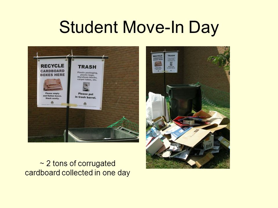 Student Move-In Day ~ 2 tons of corrugated cardboard collected in one day