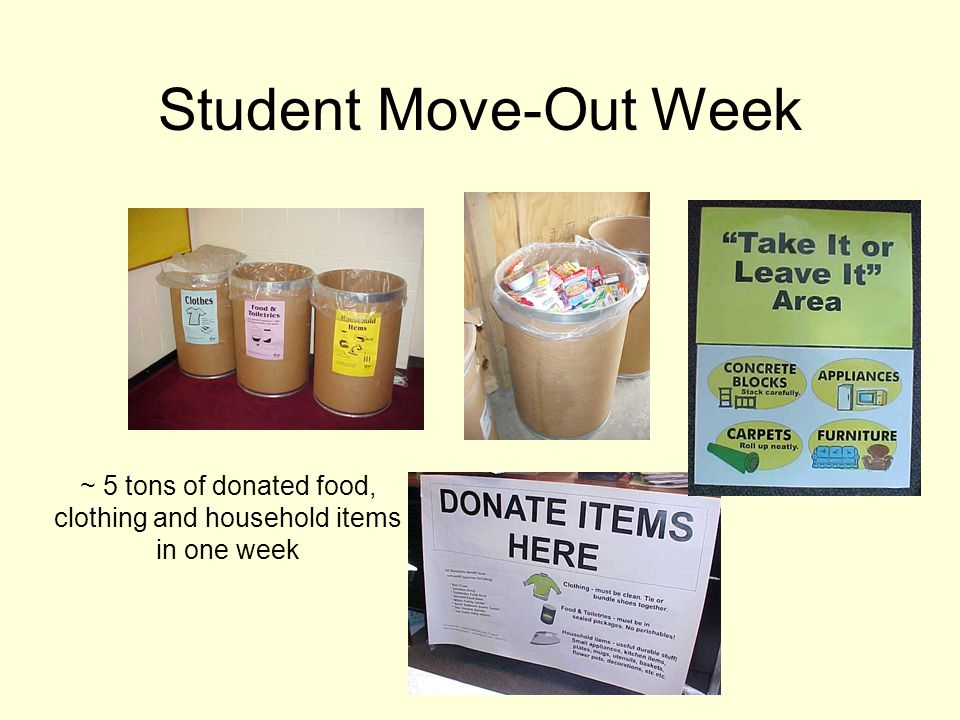 Student Move-Out Week ~ 5 tons of donated food, clothing and household items in one week