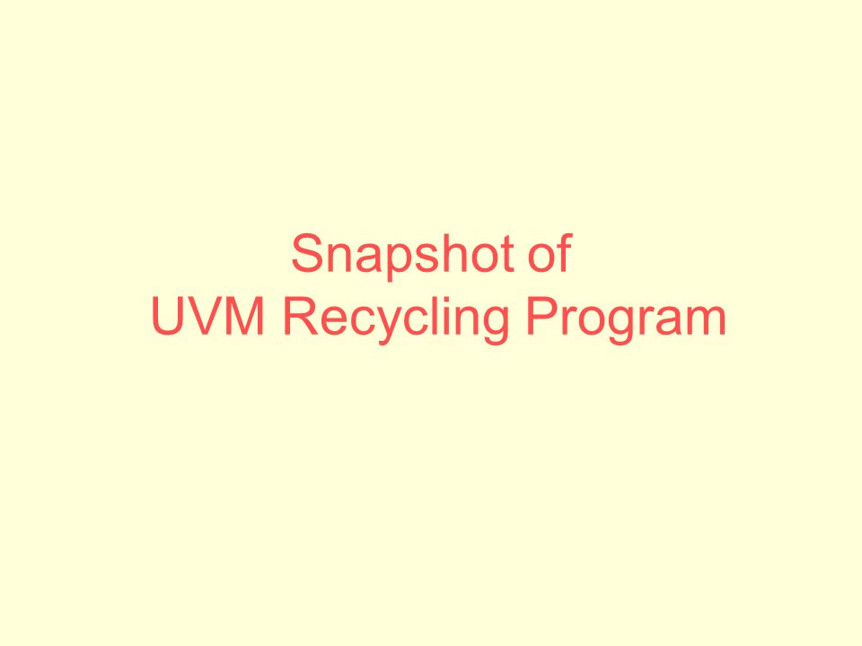 Snapshot of UVM Recycling Program