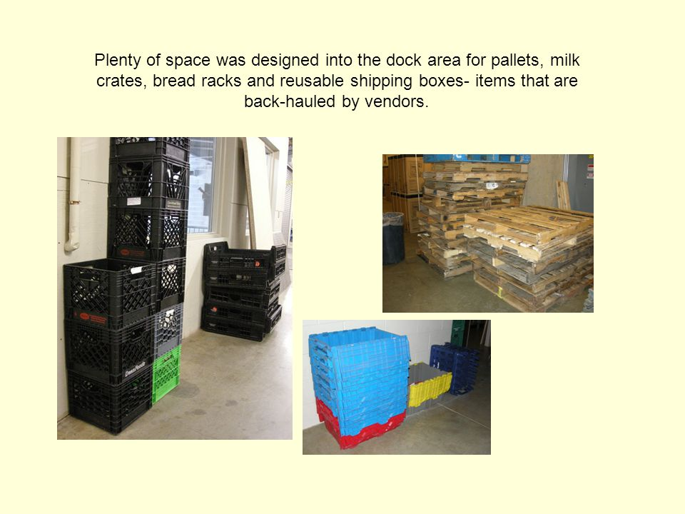 Plenty of space was designed into the dock area for pallets, milk crates, bread racks and reusable shipping boxes- items that are back-hauled by vendors.