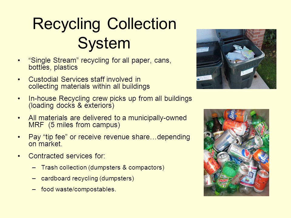 Recycling Collection System Single Stream recycling for all paper, cans, bottles, plastics Custodial Services staff involved in collecting materials within all buildings In-house Recycling crew picks up from all buildings (loading docks & exteriors) All materials are delivered to a municipally-owned MRF (5 miles from campus) Pay tip fee or receive revenue share…depending on market.