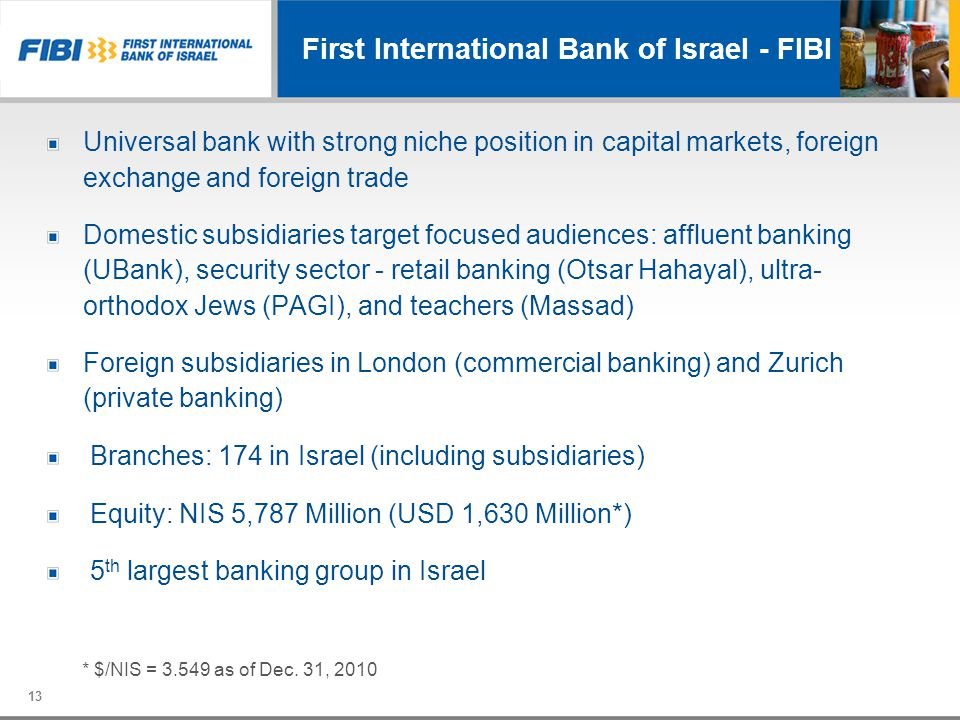 First International Bank of Israel - FIBI Universal bank with strong niche position in capital markets, foreign exchange and foreign trade Domestic su