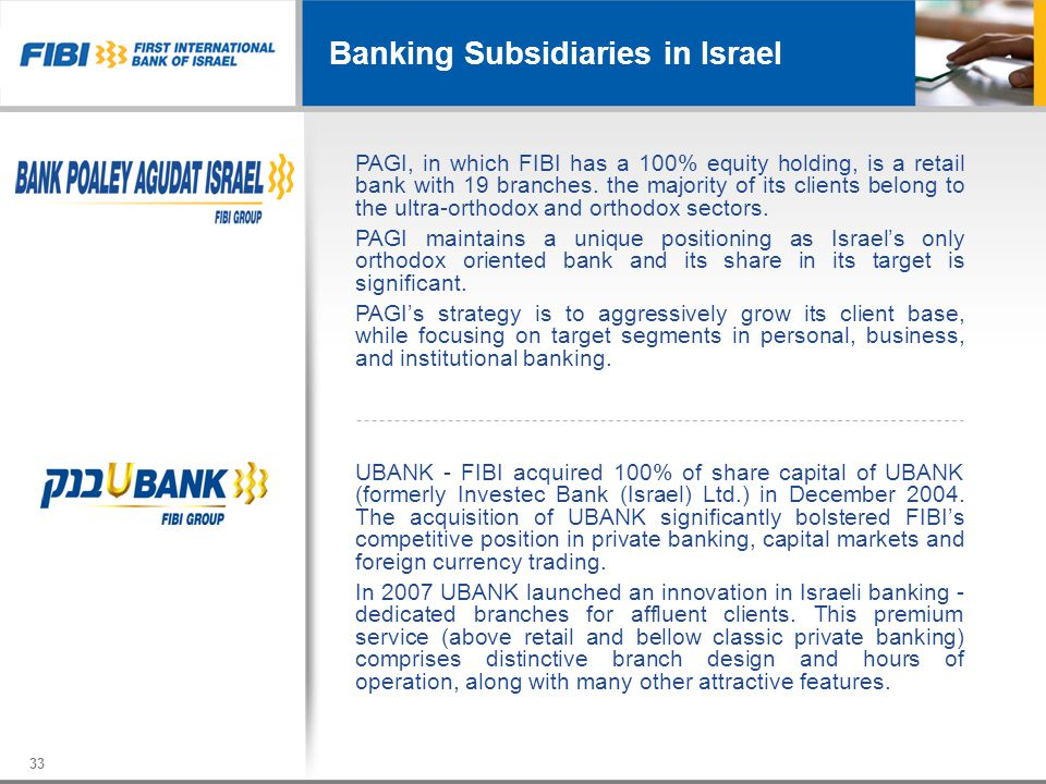 PAGI, in which FIBI has a 100% equity holding, is a retail bank with 19 branches. the majority of its clients belong to the ultra-orthodox and orthodo
