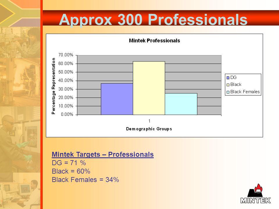 Approx 300 Professionals Mintek Targets – Professionals DG = 71 % Black = 60% Black Females = 34%