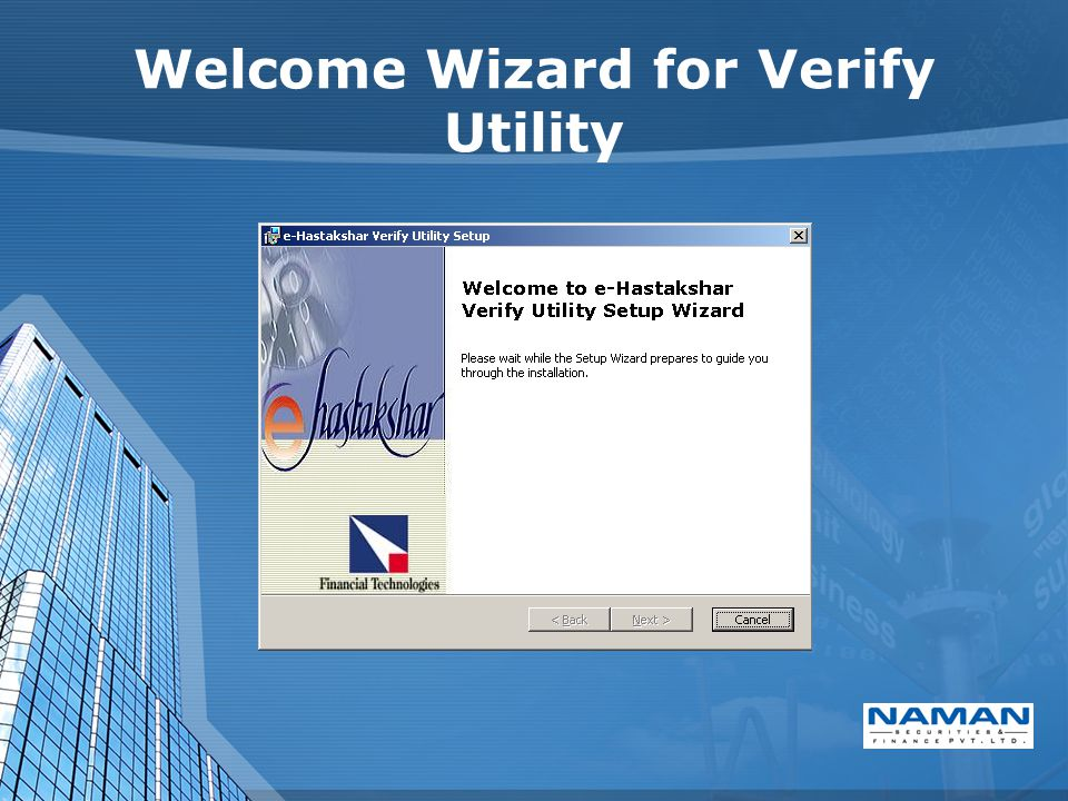 Welcome Wizard for Verify Utility