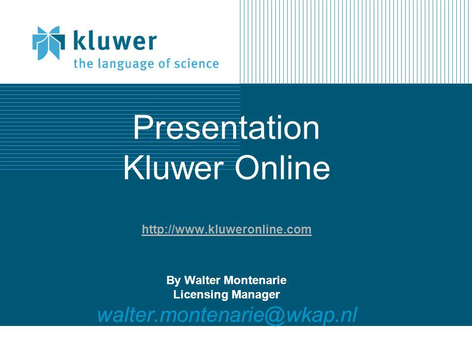 Kluwer Online eJournals – New eJournals Website http://journals.kluweronline.com Pre- publication posting of articles