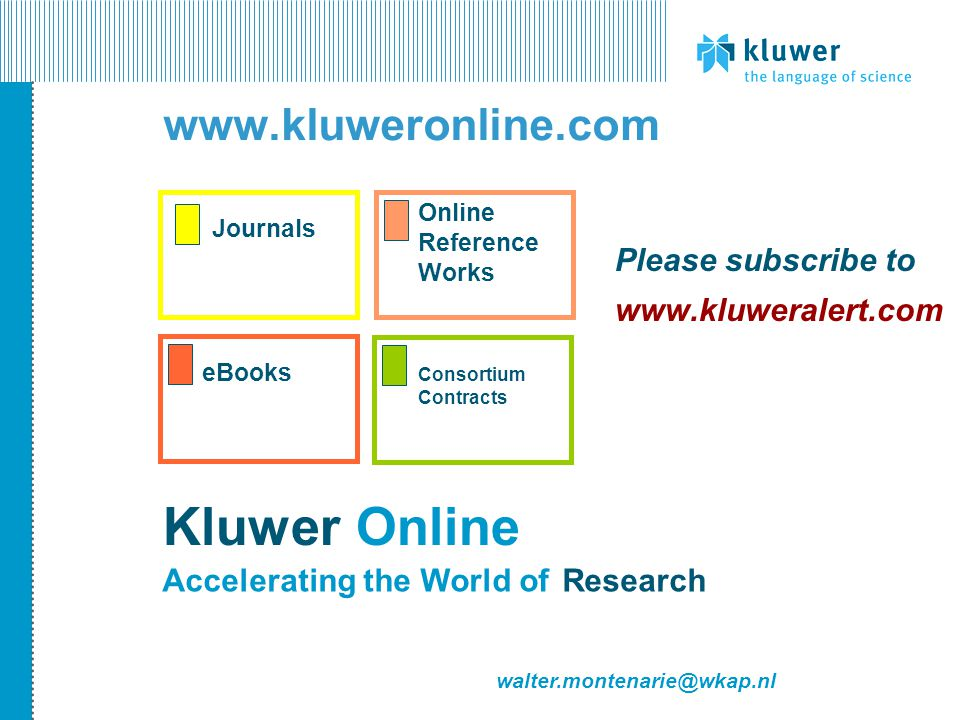JournalseBooks Online Reference Works Kluwer Online ResearchAccelerating the World of walter.montenarie@wkap.nl www.kluweronline.com Consortium Contra