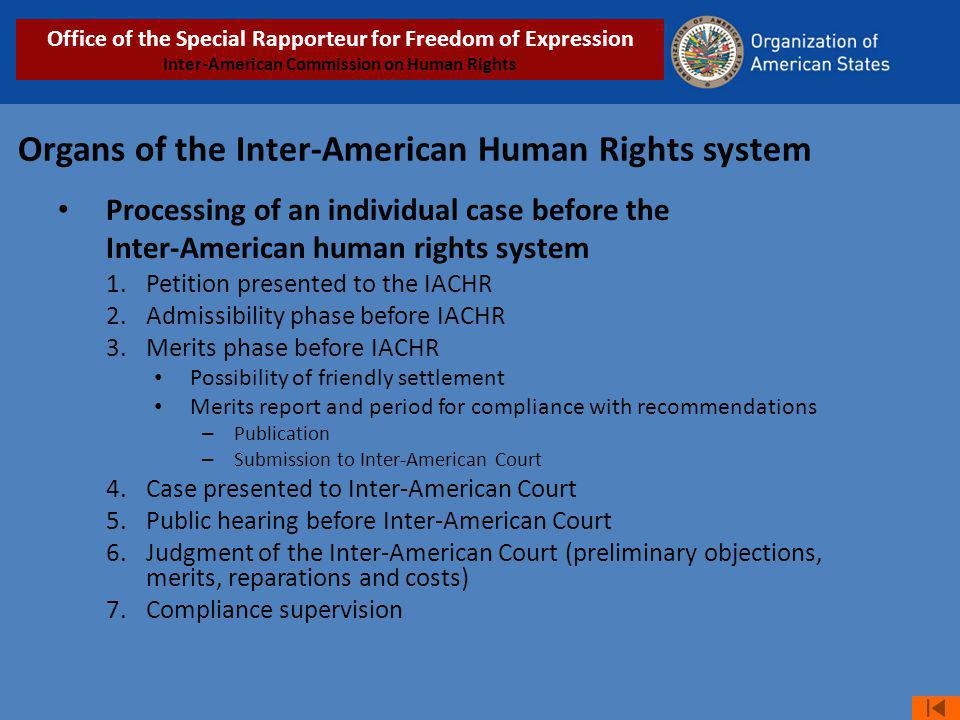 Organs of the Inter-American Human Rights system Processing of an individual case before the Inter-American human rights system 1.Petition presented to the IACHR 2.Admissibility phase before IACHR 3.Merits phase before IACHR Possibility of friendly settlement Merits report and period for compliance with recommendations – Publication – Submission to Inter-American Court 4.Case presented to Inter-American Court 5.Public hearing before Inter-American Court 6.Judgment of the Inter-American Court (preliminary objections, merits, reparations and costs) 7.Compliance supervision Office of the Special Rapporteur for Freedom of Expression Inter-American Commission on Human Rights
