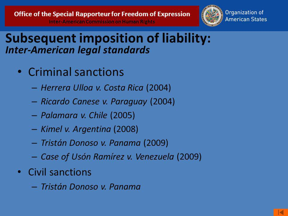 Subsequent imposition of liability: Inter-American legal standards Criminal sanctions – Herrera Ulloa v.