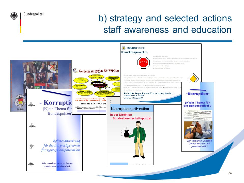 24 b) strategy and selected actions staff awareness and education