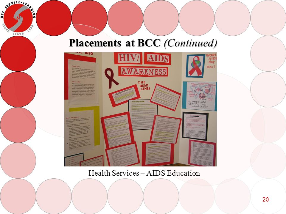 20 Placements at BCC (Continued) Health Services – AIDS Education
