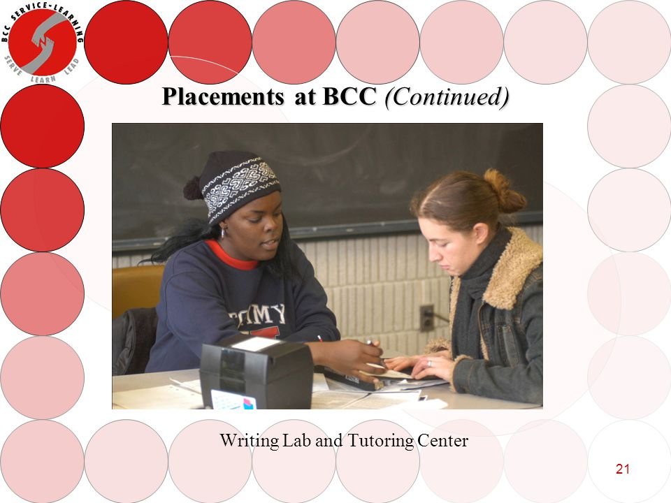 21 Placements at BCC (Continued) Writing Lab and Tutoring Center