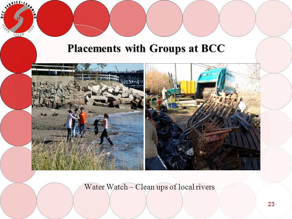 23 Placements with Groups at BCC Water Watch – Clean ups of local rivers