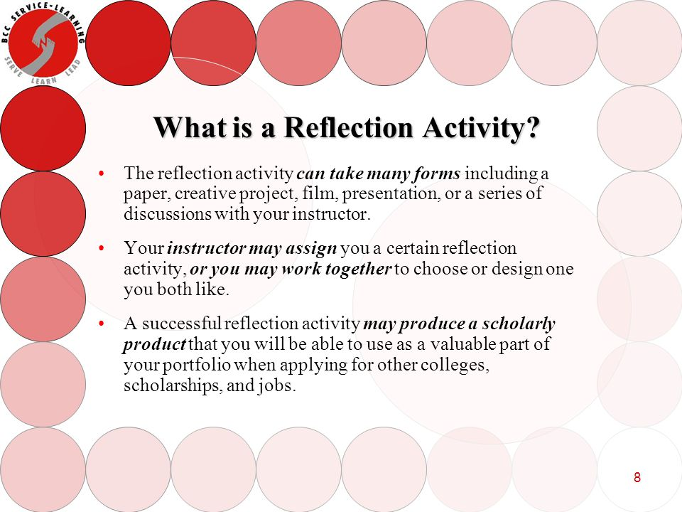 9 Examples of Reflection Assignments that Produced Scholarly Products Several BCC students have presented posters based on their reflection assignment at the Massachusetts Undergraduate Conference.