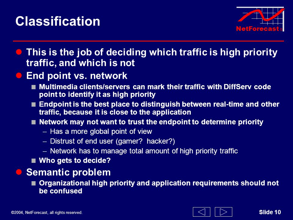 ©2004, NetForecast, all rights reserved. NetForecast ® Slide 10 Classification This is the job of deciding which traffic is high priority traffic, and