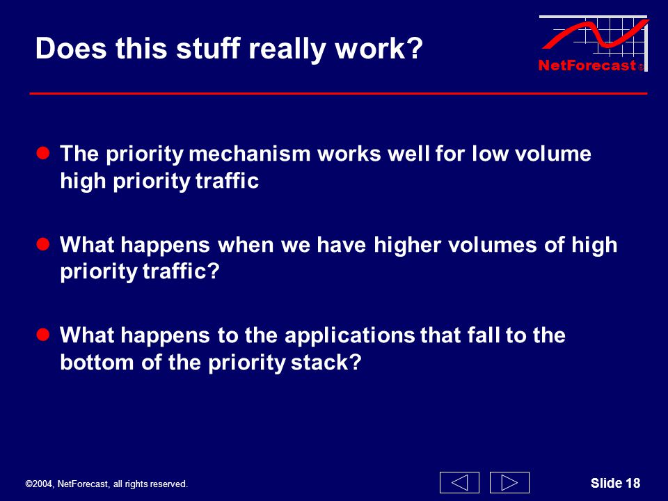 ©2004, NetForecast, all rights reserved. NetForecast ® Slide 18 Does this stuff really work? The priority mechanism works well for low volume high pri