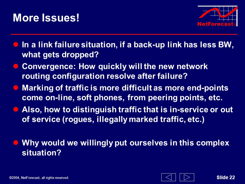 ©2004, NetForecast, all rights reserved. NetForecast ® Slide 22 More Issues! In a link failure situation, if a back-up link has less BW, what gets dro