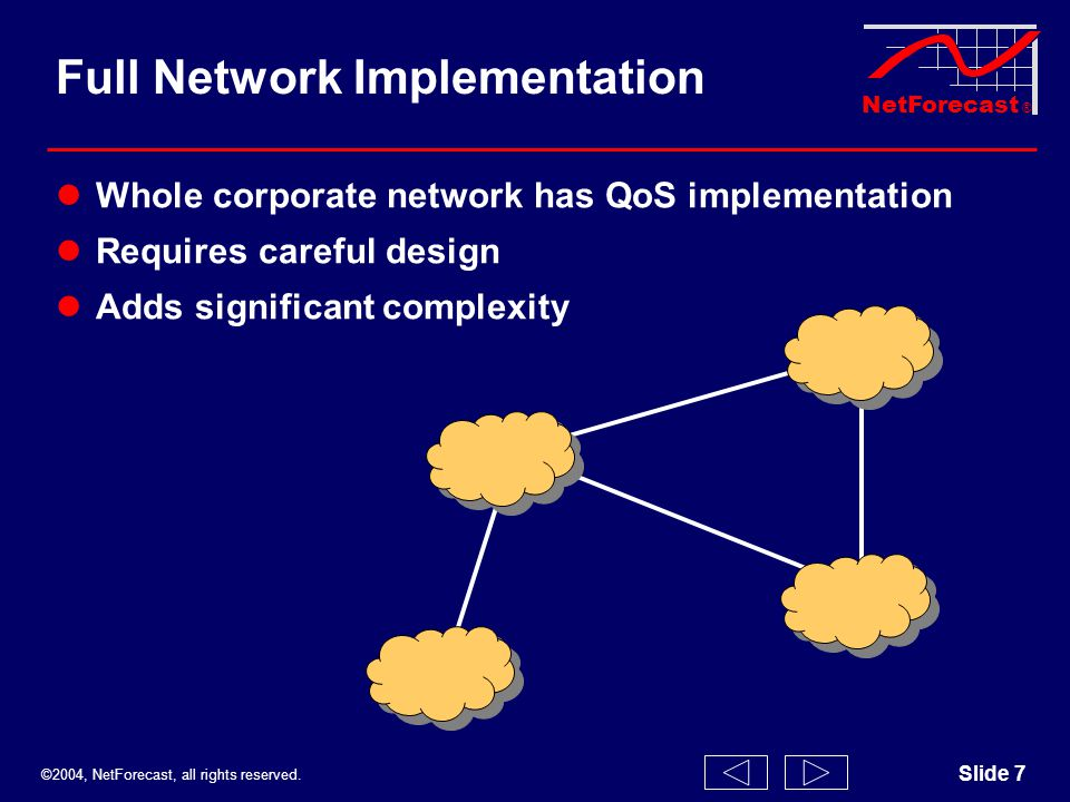 ©2004, NetForecast, all rights reserved. NetForecast ® Slide 7 Full Network Implementation Whole corporate network has QoS implementation Requires car