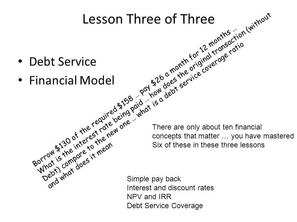 Lesson Three of Three Debt Service Financial Model Borrow $130 of the required $158 … pay $26 a month for 12 months … What is the interest rate being paid … how does the original transaction (without Debt) compare to the new one … what is a debt service coverage ratio and what does it mean There are only about ten financial concepts that matter … you have mastered Six of these in these three lessons Simple pay back Interest and discount rates NPV and IRR Debt Service Coverage
