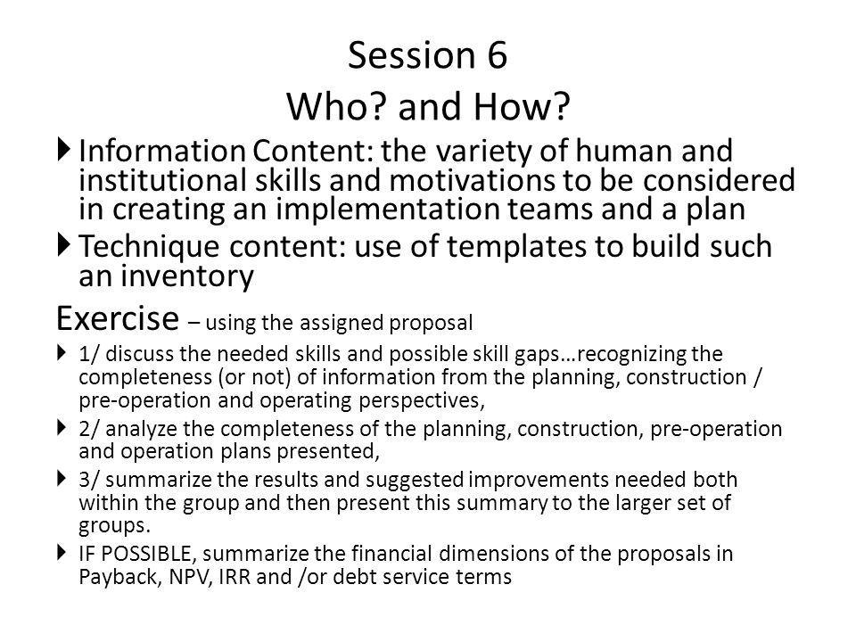 Session 6 Who. and How.