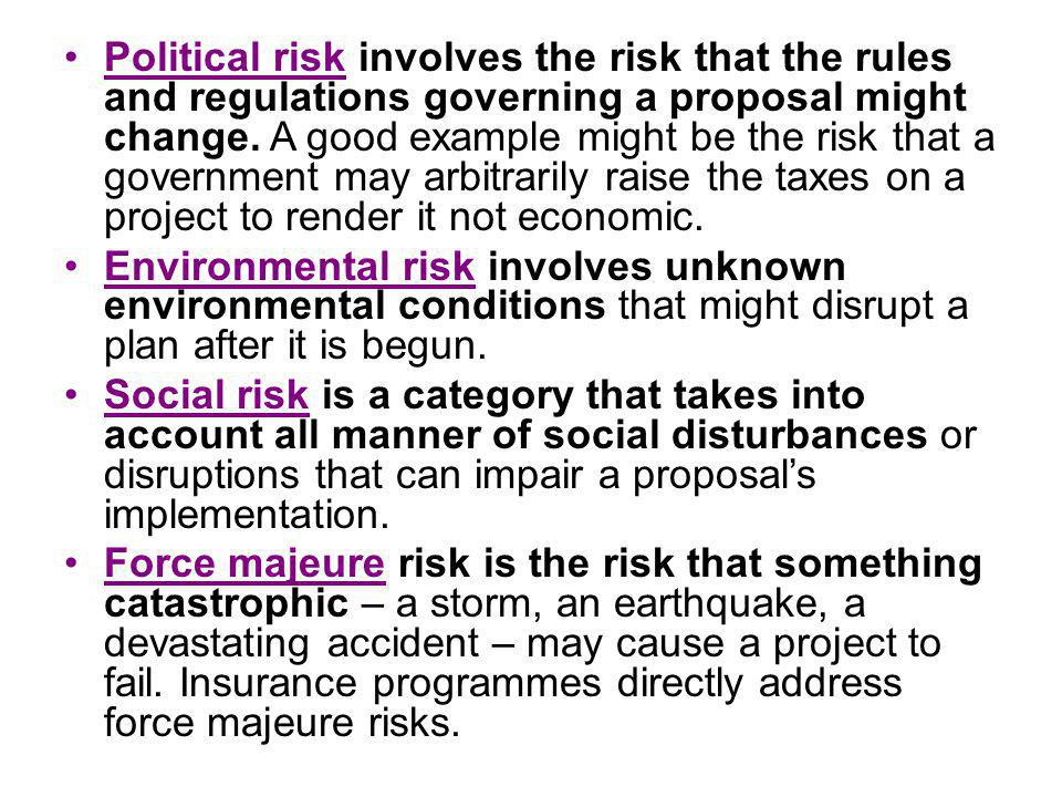 Political risk involves the risk that the rules and regulations governing a proposal might change.