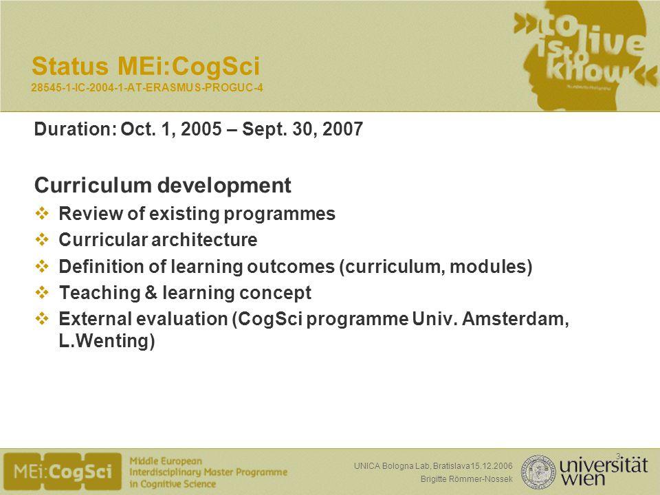 Seite: Brigitte Römmer-Nossek 3 UNICA Bologna Lab, Bratislava15.12.2006 Duration: Oct.