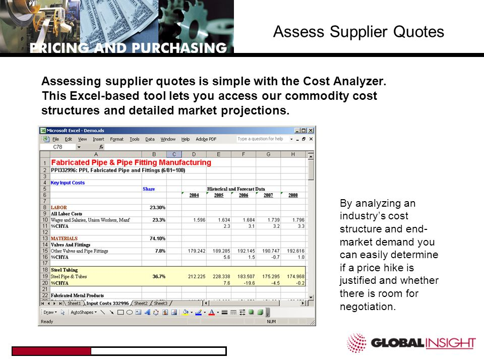 Assess Supplier Quotes Solder and Supplies (Represent 5% of cost) 0% Increase Capacitors, Resistors & Various Components (Represent 33% of cost) 1% Decrease Semiconductors (Represent 10% of cost) 2% Increase Equipment/Components (Represent 15% of cost) 2% Increase Labor (Represents 37% of cost) 2.5% Increase The increase is too high.