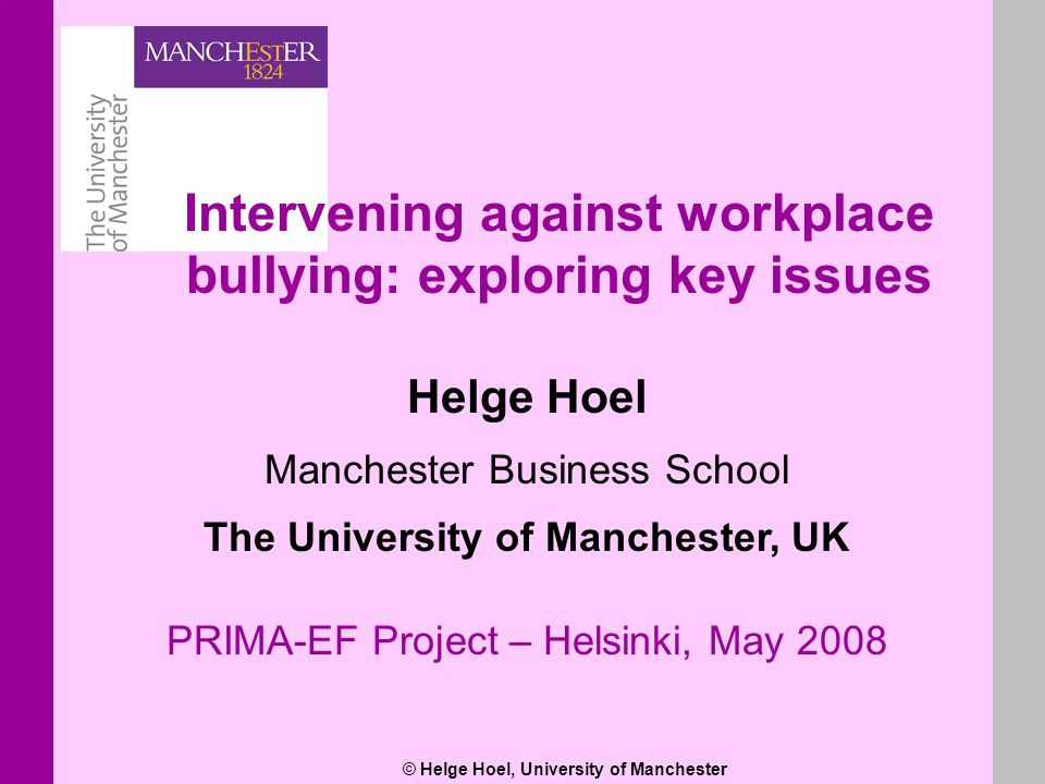 © Helge Hoel, University of Manchester Helge Hoel Manchester Business School The University of Manchester, UK PRIMA-EF Project – Helsinki, May 2008 In