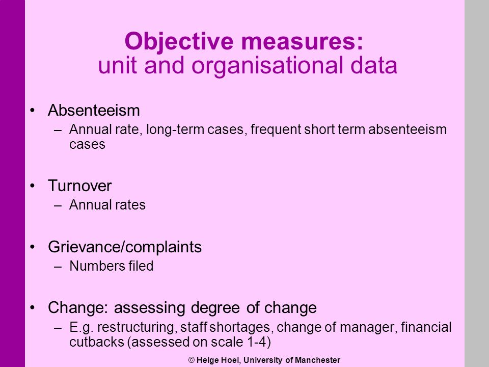 © Helge Hoel, University of Manchester Objective measures: unit and organisational data Absenteeism –Annual rate, long-term cases, frequent short term