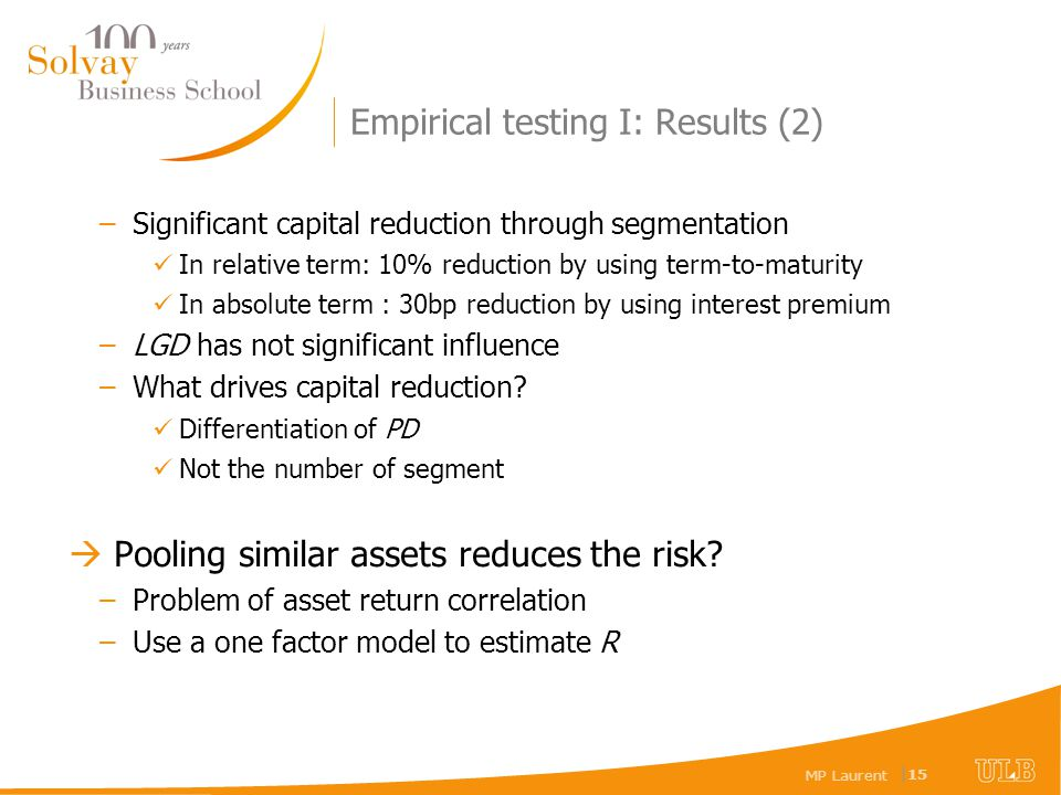 MP Laurent | 15 Empirical testing I: Results (2) –Significant capital reduction through segmentation In relative term: 10% reduction by using term-to-
